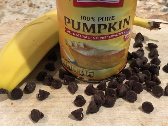 Ingredients for pumpkin chocolate chip banana bread