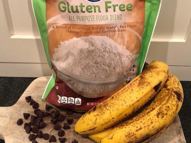 Gluten free flour, chocolate chips & bananas