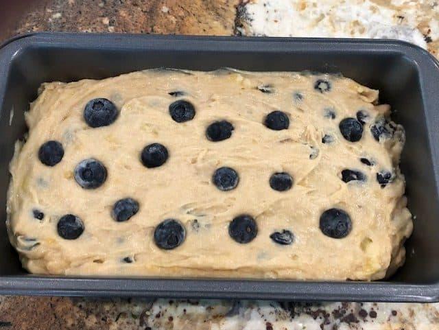 Batter for gluten free blueberry banana bread