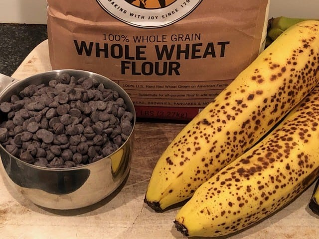 Key Ingredients for Whole Wheat Chocolate Chip Banana Bread - Whole Wheat Flour, Chocolate Chips & Bananas