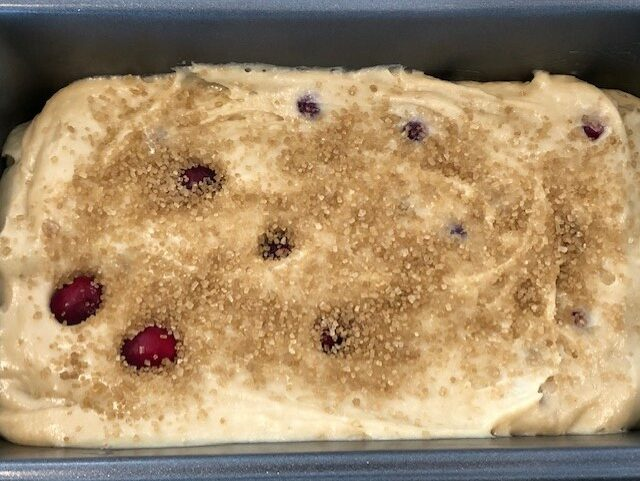 Cranberry Bread Batter with Sugar Sprinkled on Top