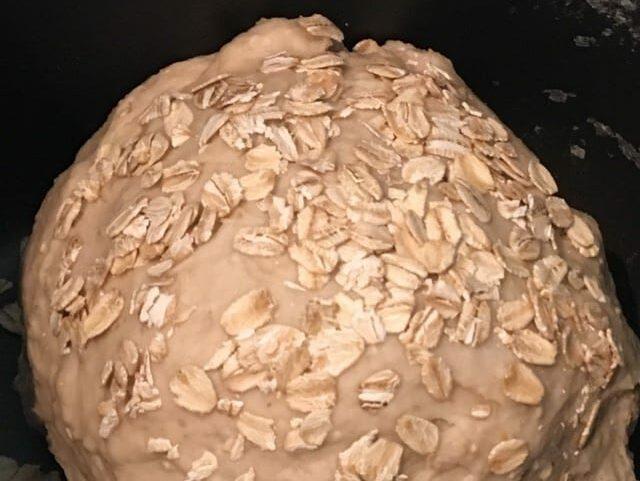 Oat Flakes Sprinkled on Bread Machine Oatmeal Bread Dough